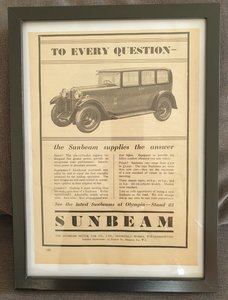 Original 1930 Sunbeam Framed Advert