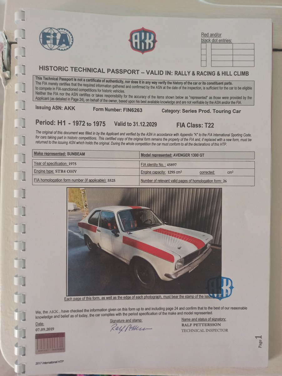 1976 Sunbeam Avenger rally car For Sale (picture 6 of 6)