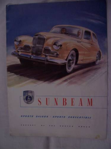 1954 SUNBEAM MARK 3 SPORTS SALOON/CONVERTIBLE SALES FOLDER For Sale (picture 1 of 3)