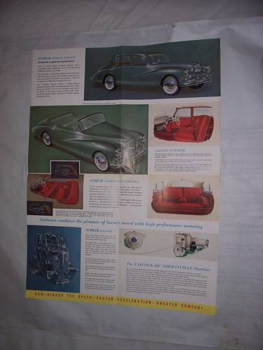 1954 SUNBEAM MARK 3 SPORTS SALOON/CONVERTIBLE SALES FOLDER For Sale (picture 2 of 3)