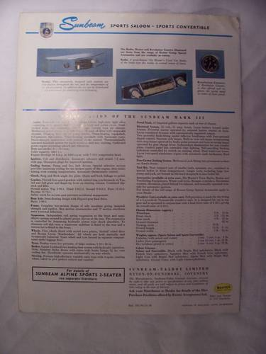 1954 SUNBEAM MARK 3 SPORTS SALOON/CONVERTIBLE SALES FOLDER For Sale (picture 3 of 3)