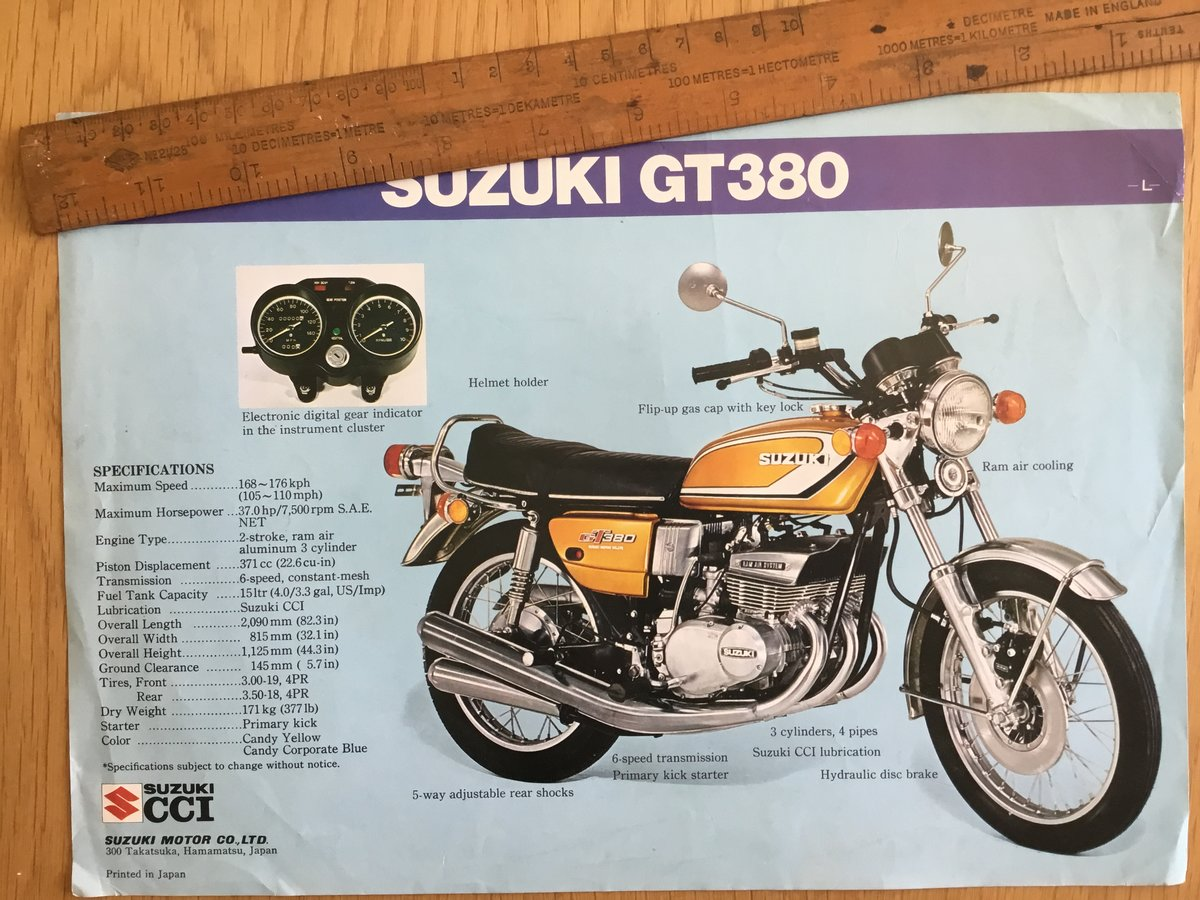 1974 Suzuki gt250 and gt 380 brochure For Sale (picture 1 of 2)