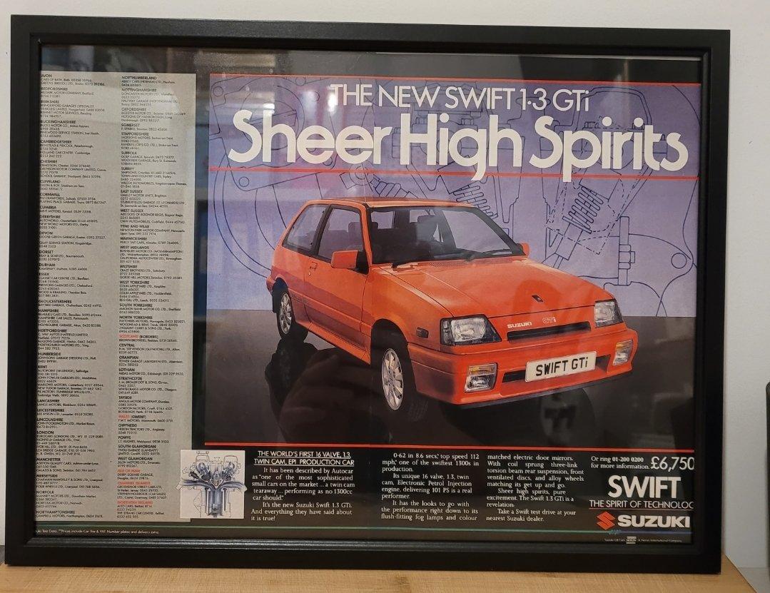 Original 1987 Suzuki Swift GTi Framed Advert