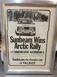 Talbot Sunbeam Advert Original