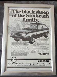 1981 Original Talbot Sunbeam Lotus advert