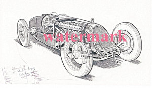 1926 Brian Hatton Drawing of the Talbot GPLB 1½ l For Sale