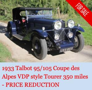 "1933 Talbot 95/105 ""Coupe des Alpes"" Vanden Plas style Tourer"