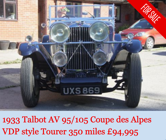 1933 Talbot AV 95/105 Coupe des Alpes Vanden Plas style For Sale (picture 1 of 6)