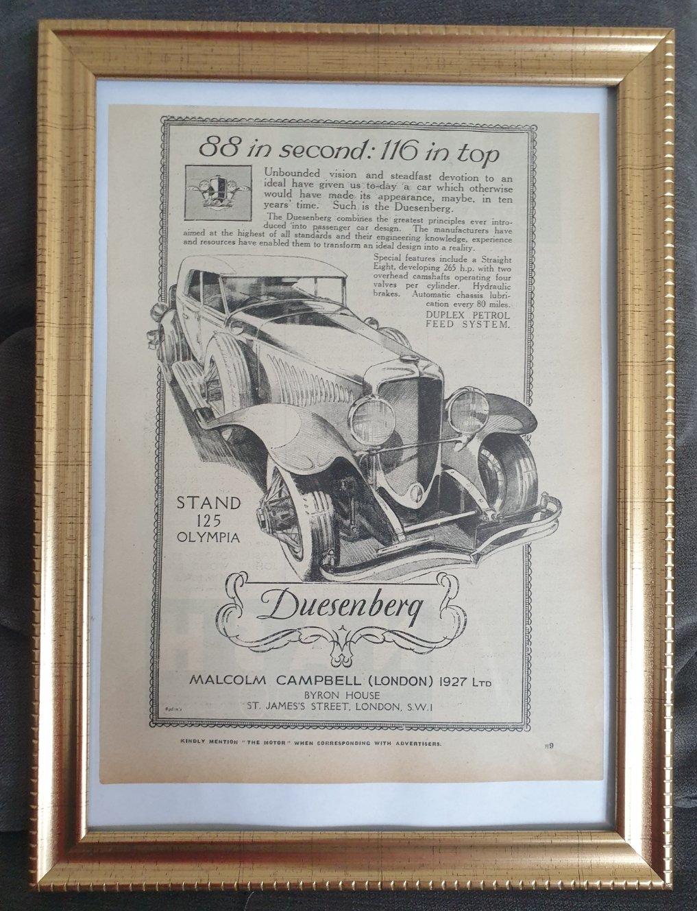 1980 Original 1929 Duesenberg Framed Advert  For Sale (picture 1 of 3)
