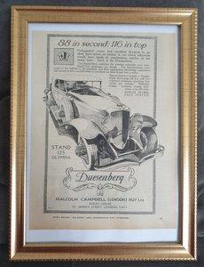 Original 1929 Duesenberg Framed Advert