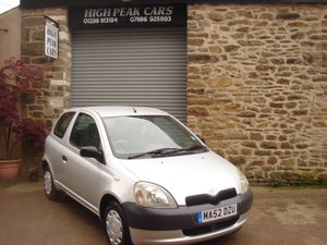 2002 52 TOYOTA YARIS 1.0 S 3DR. 44987 MILES. 1 LADY OWNER. For Sale