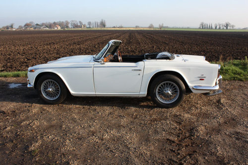 1968 TRIUMPH TR5 IN TRIUMPH WHITE WITH BLACK TRIM SOLD (picture 5 of 6)