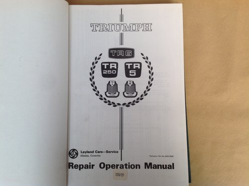 Triumph TR5 & 6 Repair Operation Manual AKM3646 SOLD (picture 1 of 2)