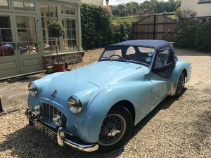1957 Stunning TR3 in Baby Blue - Overdrive, RHD For Sale