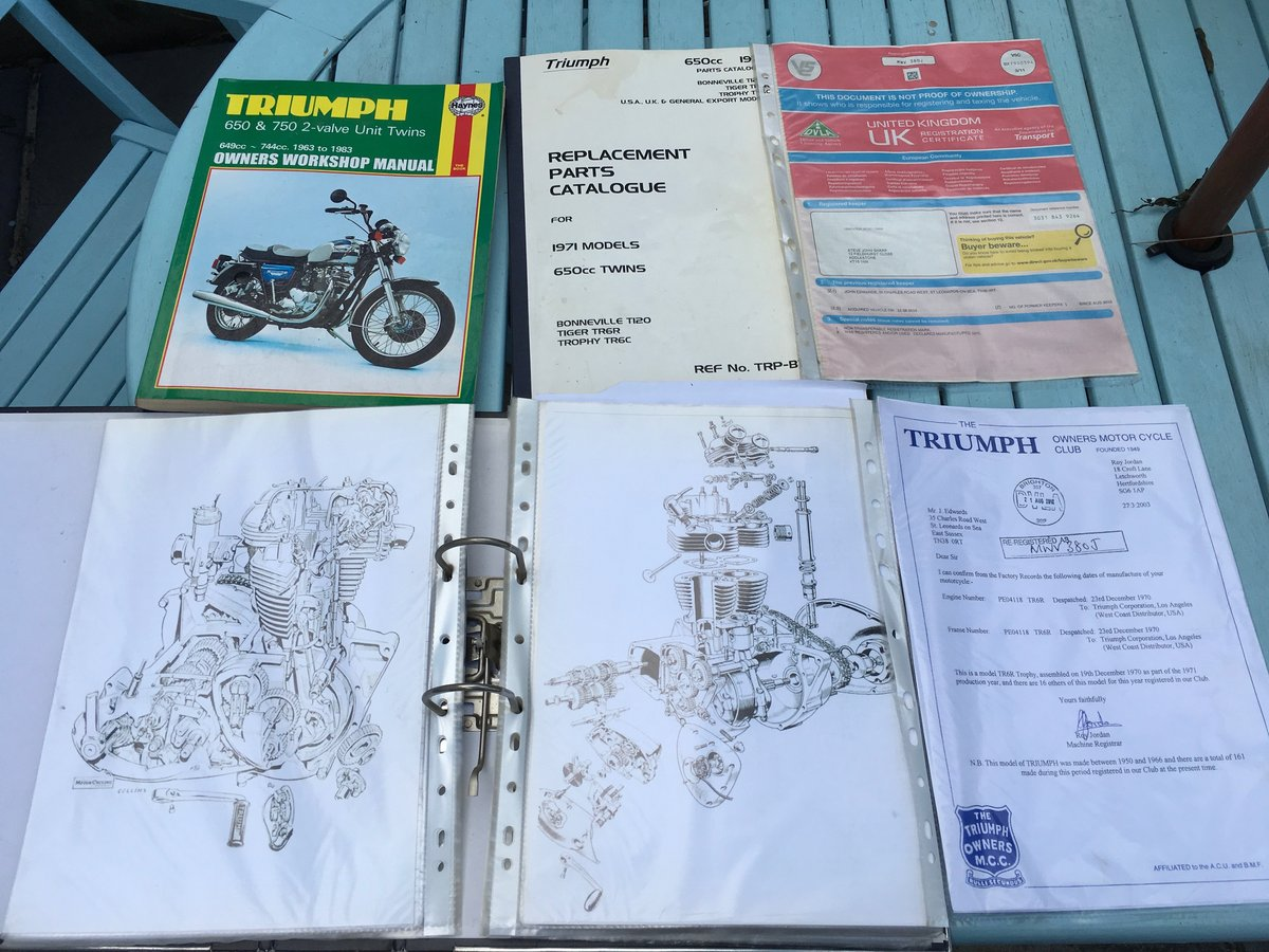 1971 Triumph Trophy 650cc O.I.F. For Sale (picture 6 of 6)