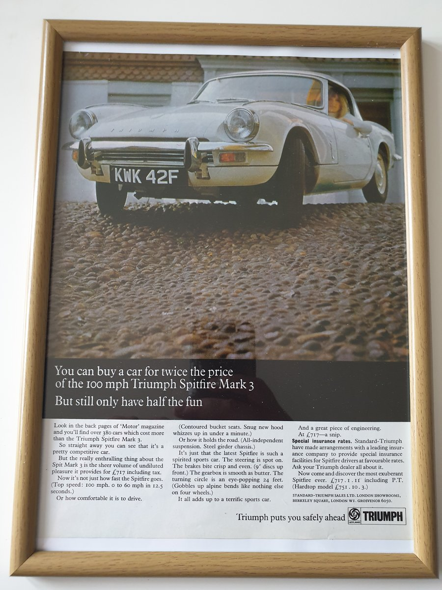 Original 1968 Triumph Spitfire Advert For Sale (picture 1 of 2)