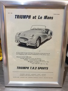 1954 Triumph TR2 Advert Original  For Sale