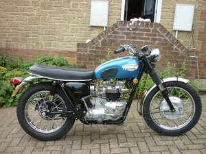 1967 Triumph Trophy TR6C, Hi-pipe, restored import.