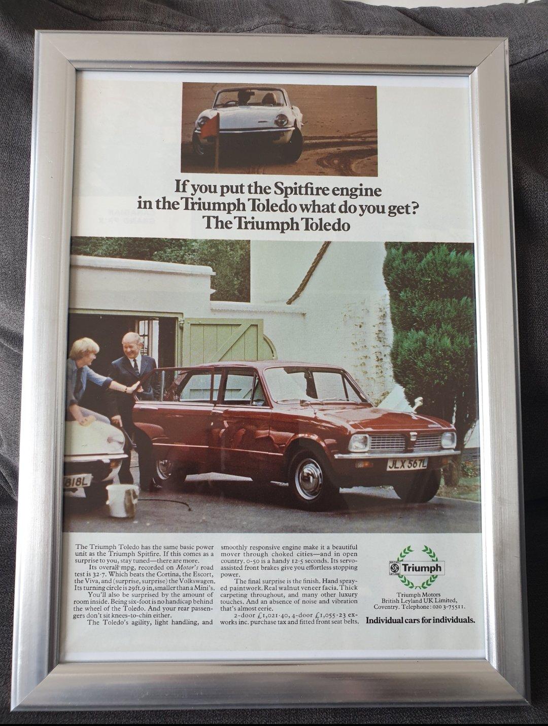 1972 Original Triumph Toledo advert For Sale (picture 1 of 2)