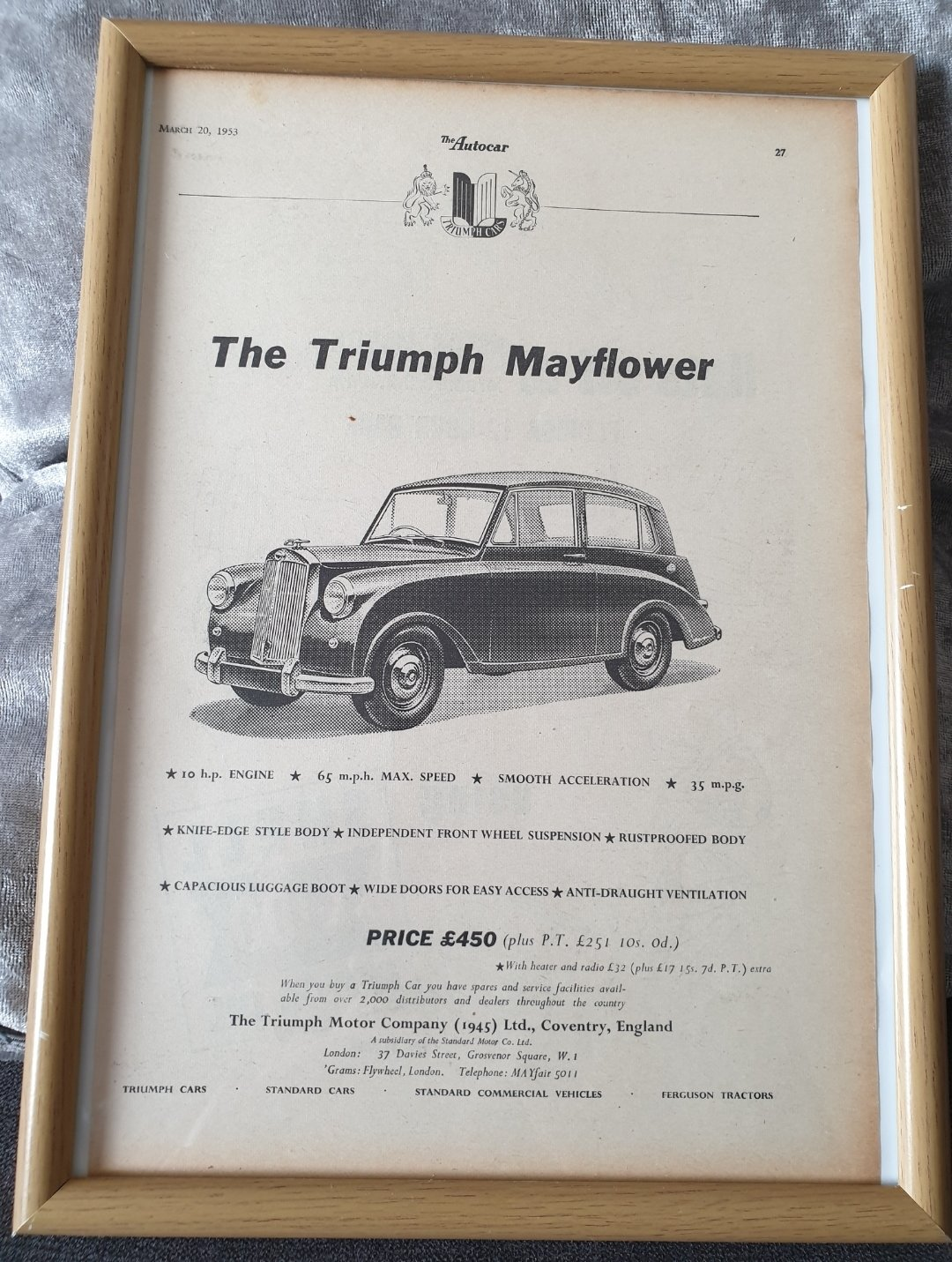 Original 1953 Triumph Mayflower framed advert For Sale (picture 1 of 2)