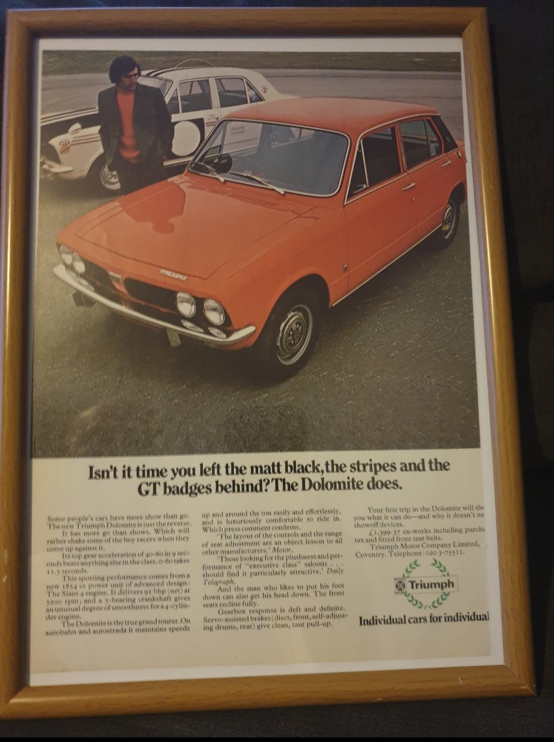 1972 Triumph Dolomite Advert Original  For Sale (picture 1 of 2)
