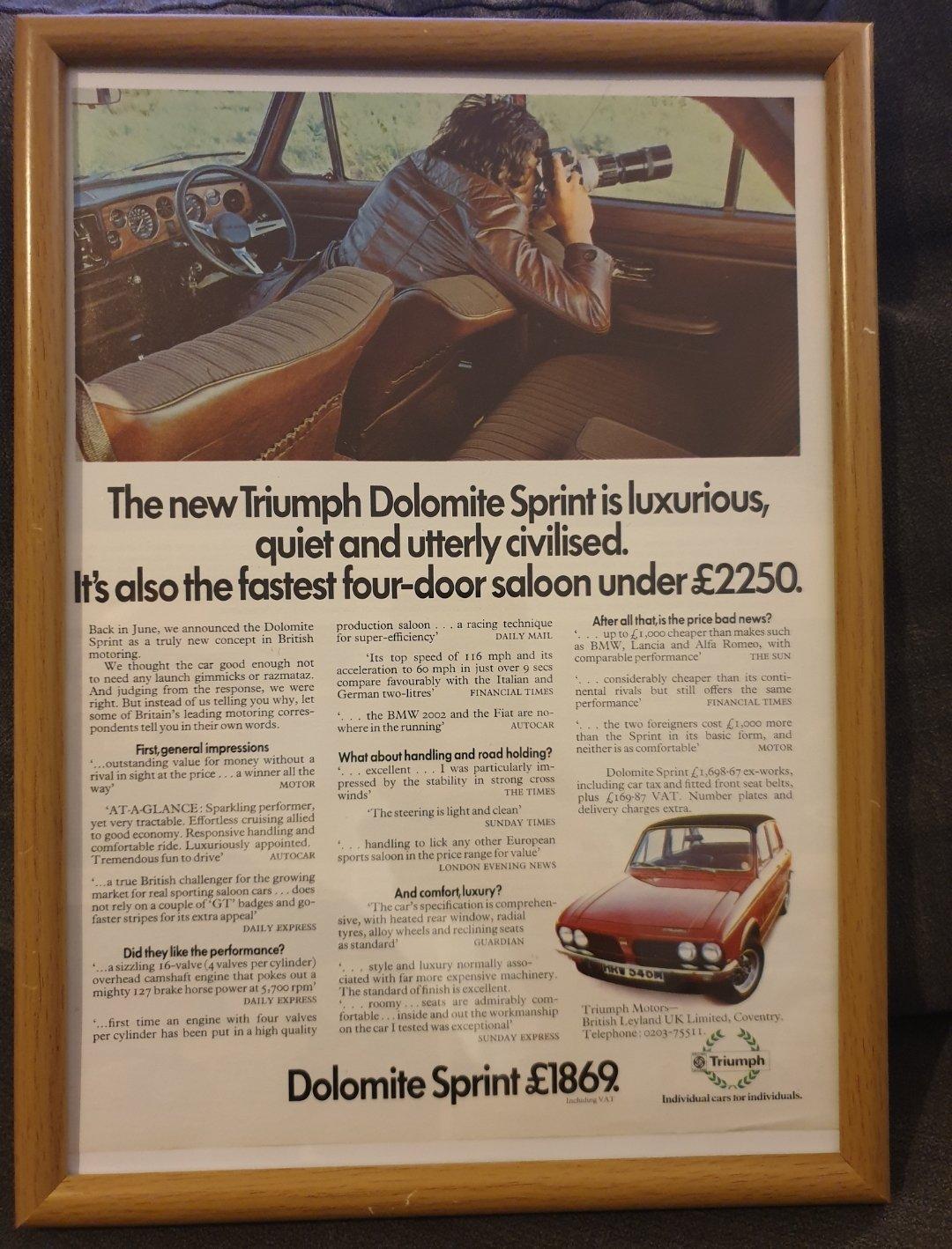 1973 Original Triumph Dolomite Sprint Advert For Sale (picture 1 of 2)