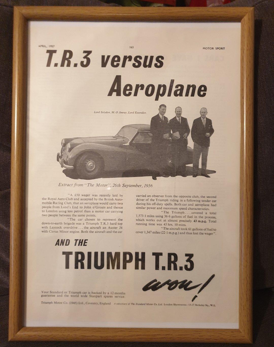 1957 Triumph TR3 Advert Original  For Sale (picture 1 of 2)