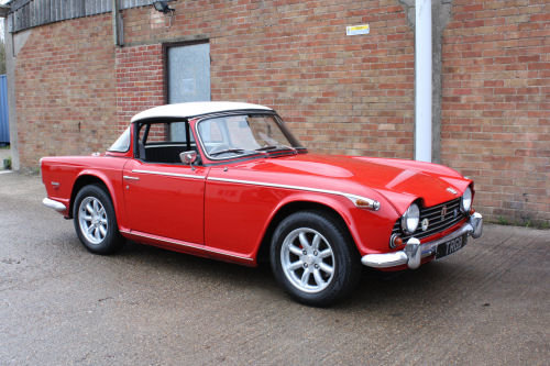 4969 1969 TRIUMPH TR5 RED WITH OVERDRIVE & SURREY TOP AT THE NEC  SOLD (picture 1 of 1)