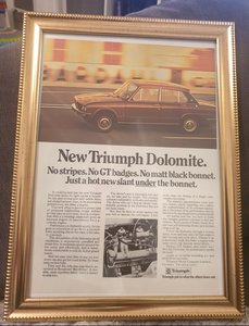 1972 Original Triumph Dolomite Framed Advert