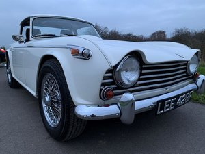 1968/F TRIUMPH TR5 PI WITH SURREY TOP MANUAL O/D WHITE SOLD