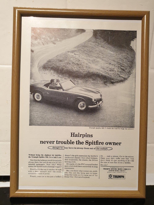 Original 1966 Triumph Spitfire Framed Advert For Sale (picture 1 of 3)
