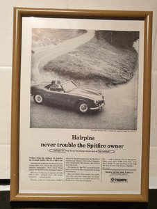 1966 Triumph Spitfire MK2 framed advert Original