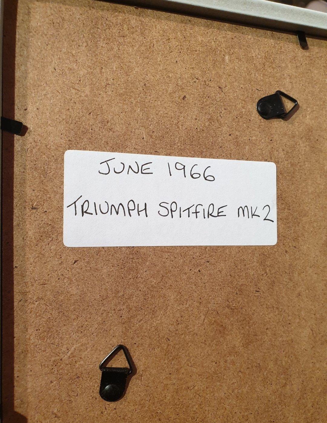 Original 1966 Triumph Spitfire Framed Advert For Sale (picture 2 of 3)
