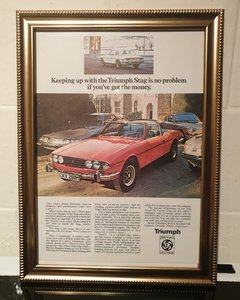 1974 Original Triumph Stag Framed Advert