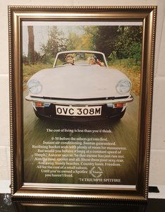 1974 Original Triumph Spitfire Framed Advert