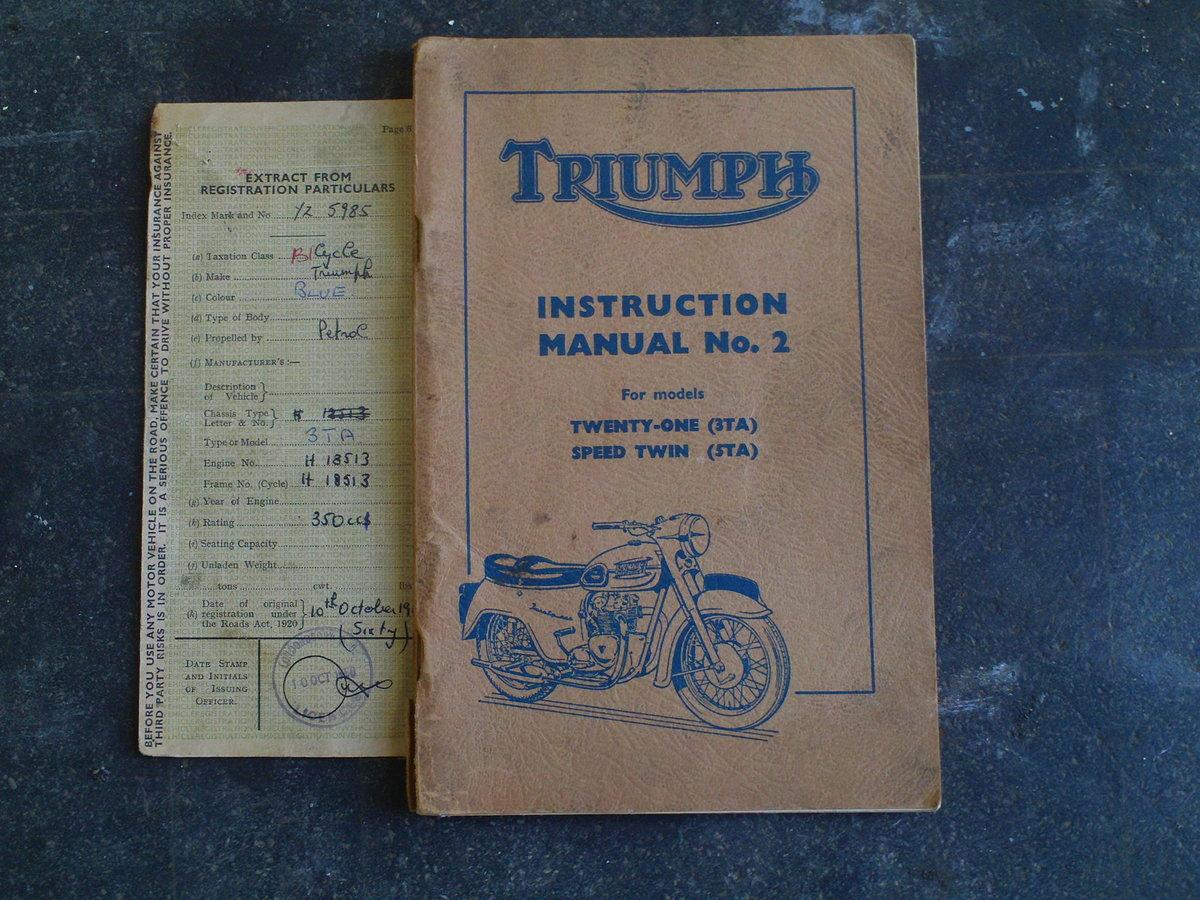 1960 TRIUMPH TWENTY ONE 3TA SOLD (picture 5 of 6)