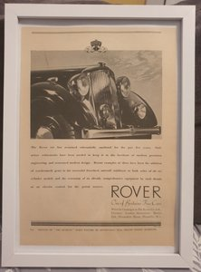 Original 1939 Rover Framed Advert