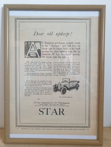 Picture of 1972 Original 1924 Star 12/25 Framed Advert