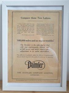 Original 1922 Daimler Framed Advert