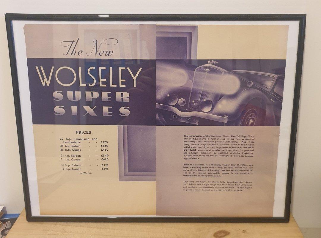 Original 1935 Wolseley Super Six Framed Advert