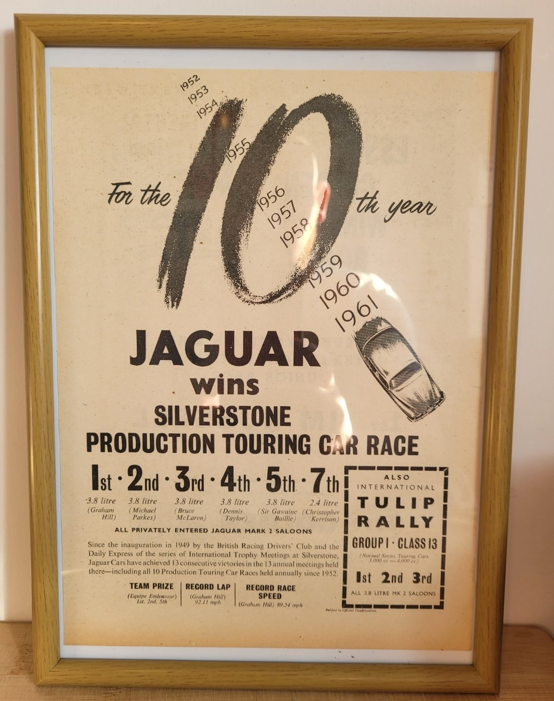 Original 1961 Jaguar Mark 2 Framed Advert