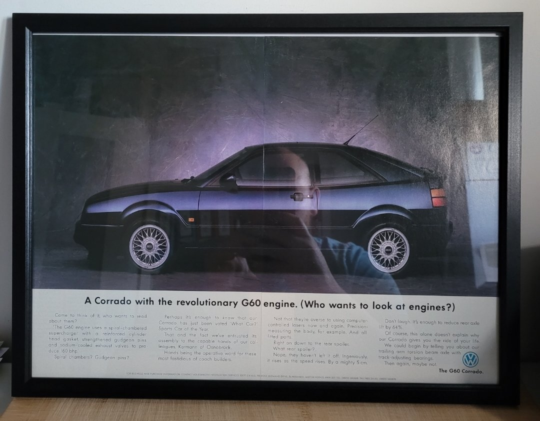 Original 1992 Volkswagen Corrado Framed Advert