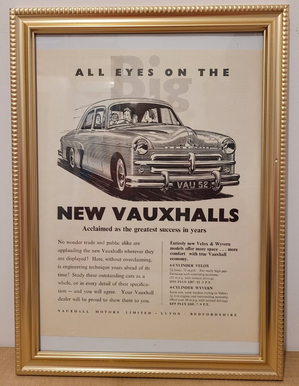 Original 1951 Vauxhall Velox Framed Advert