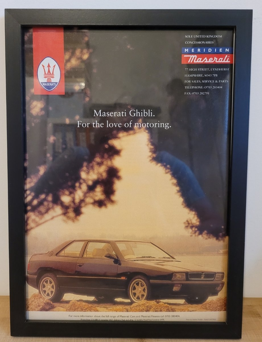 1973 Original 1993 Maserati Ghibli Framed Advert For Sale (picture 1 of 3)