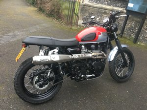 Picture of 2015(15) Triumph Scrambler - Diablo Red /Silver  23144 miles For Sale