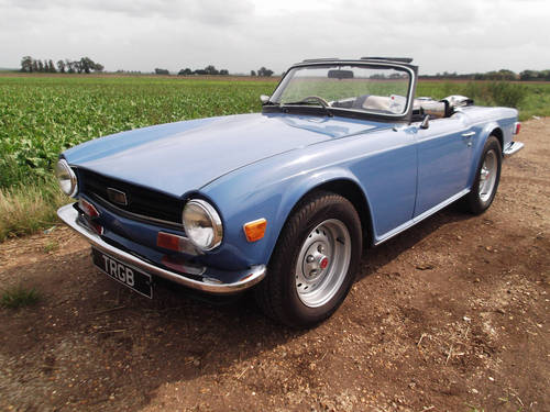 1974 TRIUMPH TR6 FRENCH BLUE WITH OVERDRIVE SOLD (picture 1 of 5)