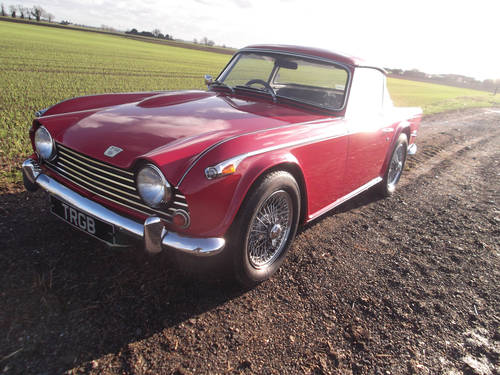 1968 RED TRIUMPH TR5 ORIGINAL UK CAR WITH SURREY TOP SOLD (picture 1 of 6)