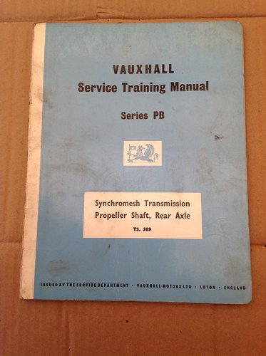 Vauxhall PA Training Book Gearbox Axle and Prop TS 589 For Sale (picture 1 of 3)