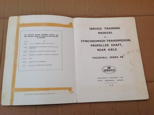 Vauxhall PA Training Book Gearbox Axle and Prop TS 589 For Sale (picture 2 of 3)