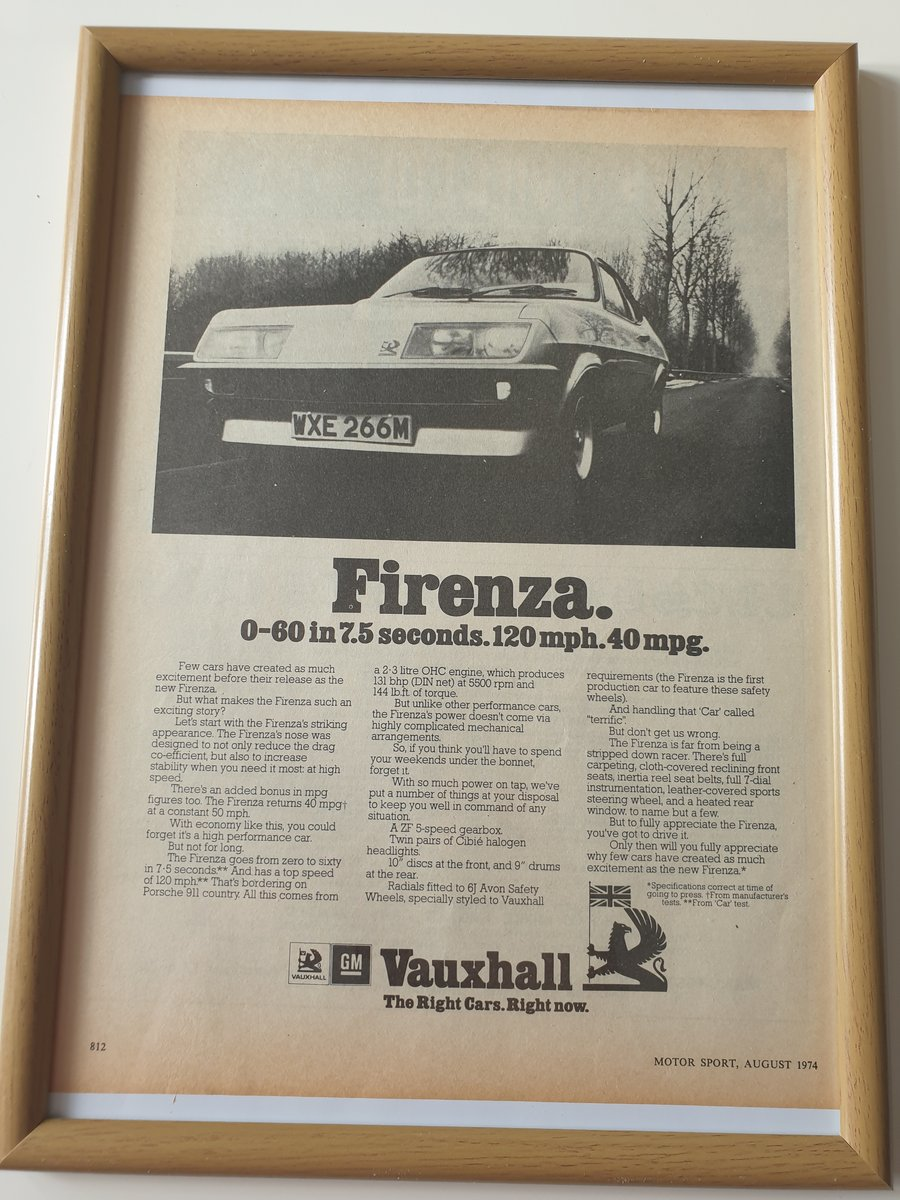 Original 1974 Advert for Vauxhall Firenza For Sale (picture 1 of 1)
